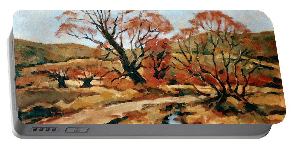Landscape Portable Battery Charger featuring the painting Autumn Landscape by Iliyan Bozhanov
