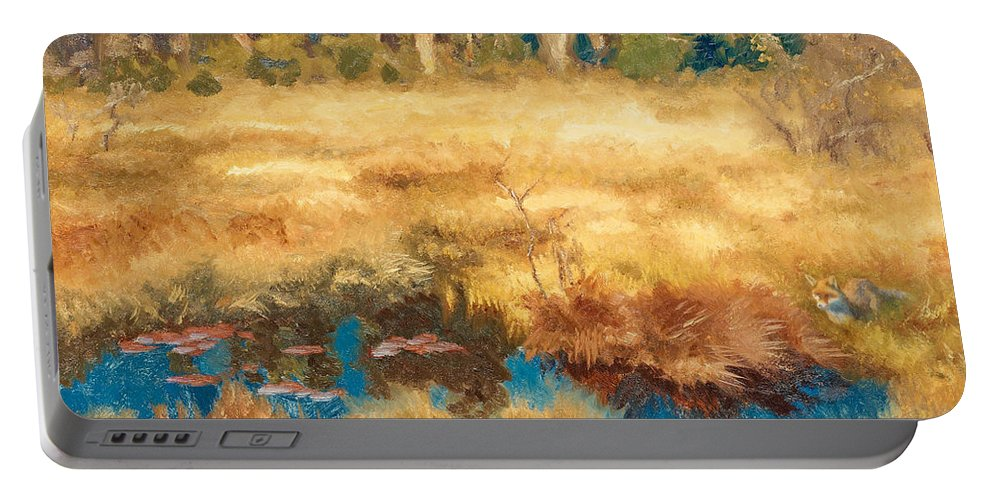 Swedish Art Portable Battery Charger featuring the painting Autumn Landscape With Fox by Bruno Liljefors