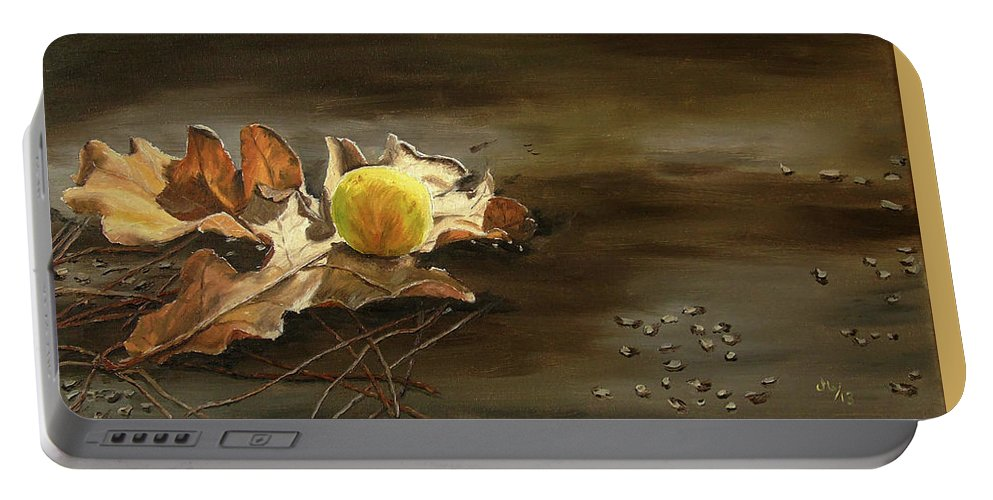 Still Life Portable Battery Charger featuring the painting Autumn Leaves 2 by Maria Woithofer