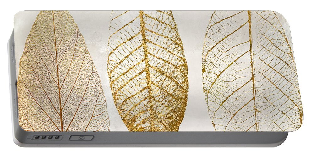 Leaf Portable Battery Charger featuring the painting Autumn Leaves IIi Fallen Gold by Mindy Sommers