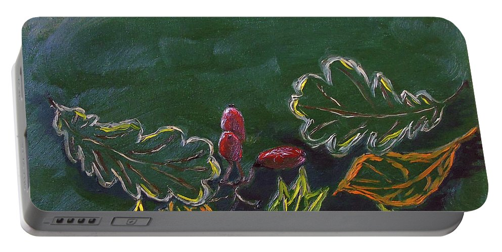 Realism Portable Battery Charger featuring the painting Autumn Leaves by Maria Woithofer