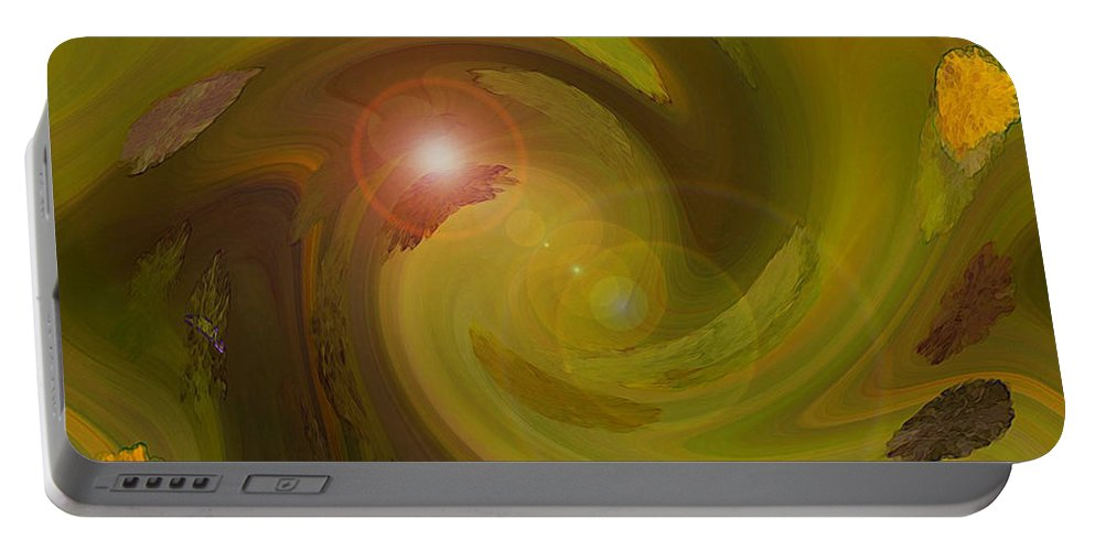 Digital Painting Abstract Portable Battery Charger featuring the digital art Autumn Light by Linda Sannuti