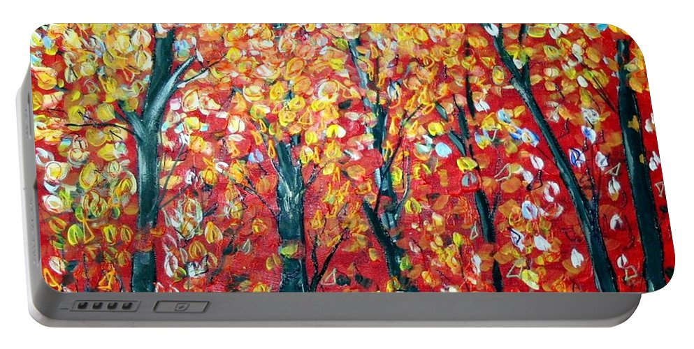 Landscape Portable Battery Charger featuring the painting Autumn by Luiza Vizoli