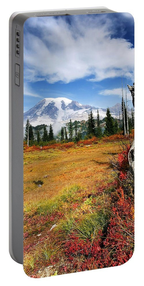 Rainier Portable Battery Charger featuring the photograph Autumn Majesty by Mike Dawson