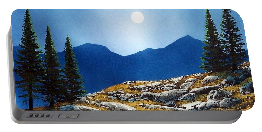 Landscape Portable Battery Charger featuring the painting Autumn Moon by Frank Wilson