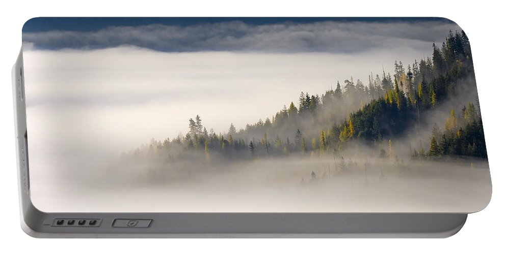 Fog Portable Battery Charger featuring the photograph Autumn Morn by Mike Dawson