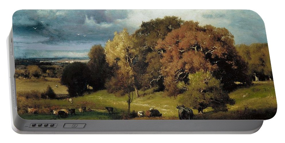 Nature Portable Battery Charger featuring the painting Autumn Oaks , George Inness by George Inness