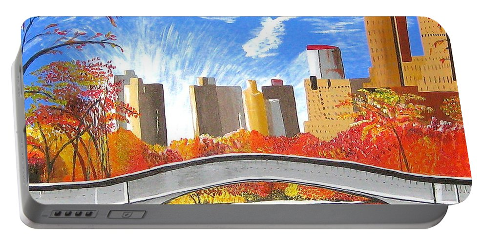 New York Portable Battery Charger featuring the painting Autumn Oasis by Donna Blossom