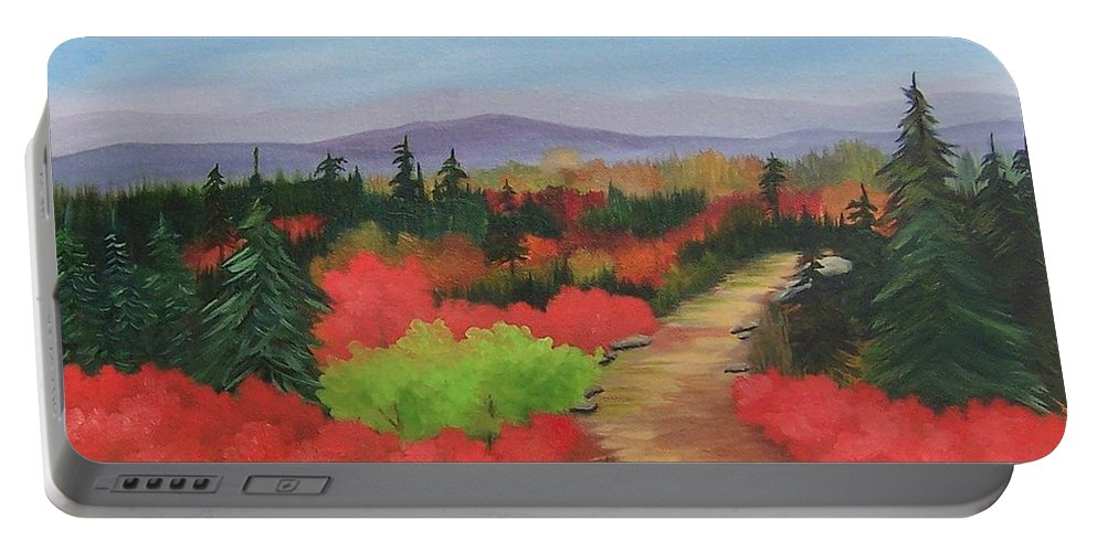 Landscape Portable Battery Charger featuring the painting Autumn On Dolly Sods by Ruth Housley