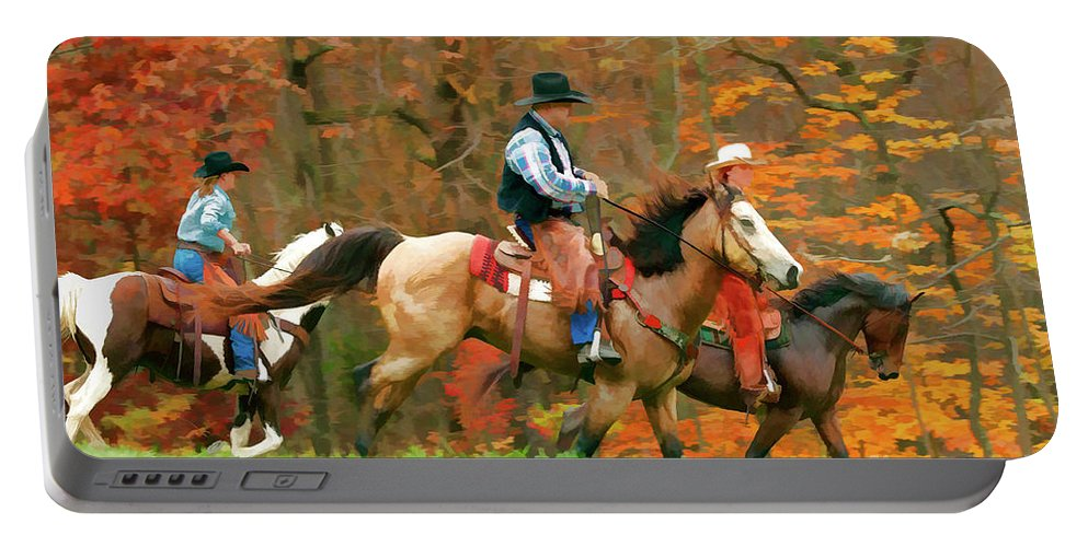 New Jersey Autumn Portable Battery Charger featuring the photograph Autumn On Horseback by Regina Geoghan