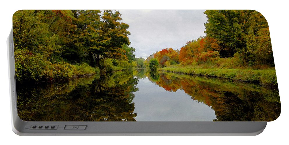 Eire Canal New York Portable Battery Charger featuring the painting Autumn On The Erie Canal by David Lee Thompson