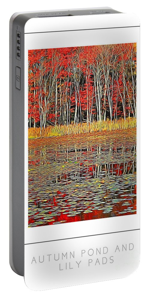 Autumn Portable Battery Charger featuring the photograph Autumn Pond And Lily Pads Poster by Mike Nellums