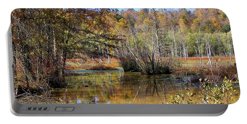 Autumn Portable Battery Charger featuring the photograph Autumn Pond by Charlene Cox