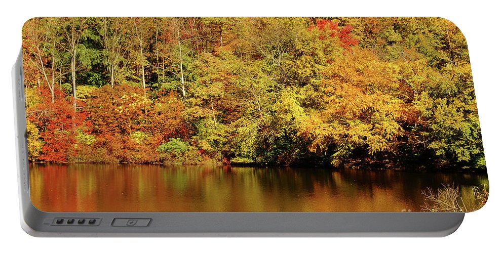 Landscape Portable Battery Charger featuring the photograph Autumn Reflection by Lori Tambakis