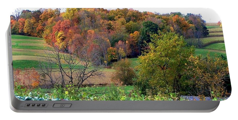 Autumn Portable Battery Charger featuring the photograph Autumn Rolling Hillside Farm Cabbage Harvest by Charlene Cox