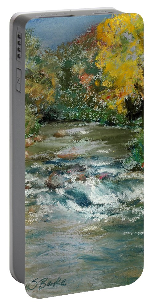 River Portable Battery Charger featuring the painting Autumn Rush by Mary Benke