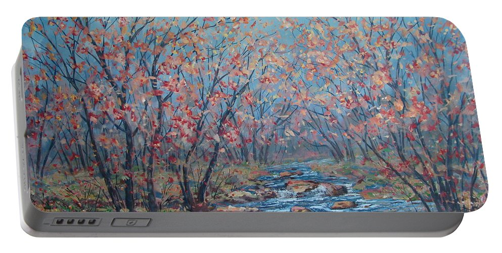Landscape Portable Battery Charger featuring the painting Autumn Serenity by Leonard Holland