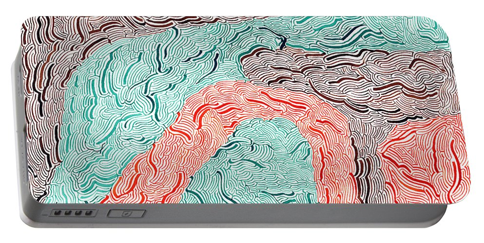 Mazes Portable Battery Charger featuring the drawing Autumn by Steven Natanson