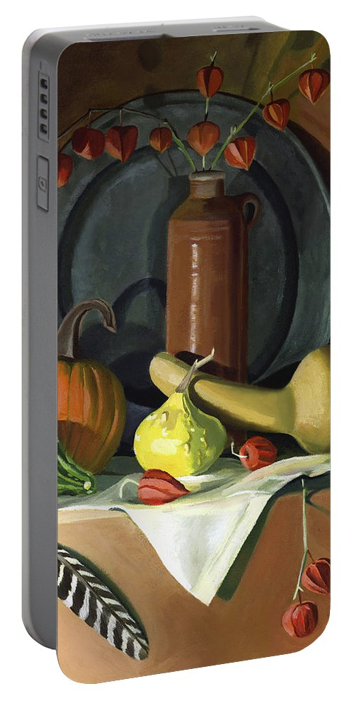 Still Life Portable Battery Charger featuring the painting Autumn Still Life by Nancy Griswold