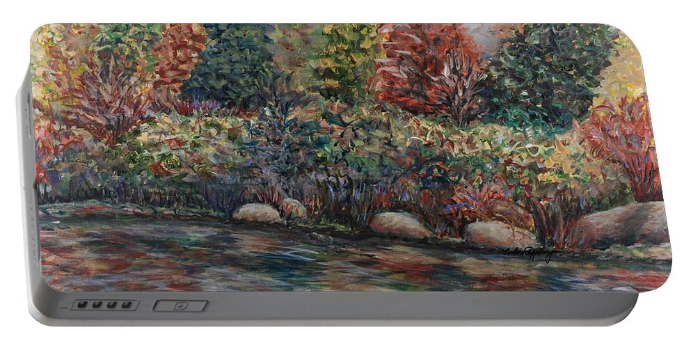 Autumn Portable Battery Charger featuring the painting Autumn Stream by Nadine Rippelmeyer