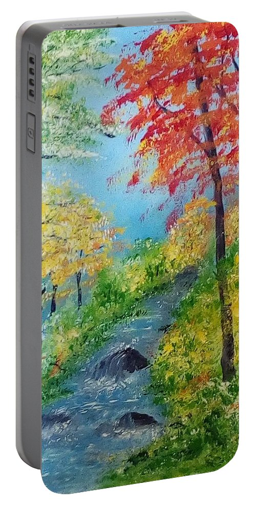 Autumn Stream; Water; River; Fall; Autumn Colors; Autumn Trees; Red Leaves Portable Battery Charger featuring the painting Autumn Stream by Sonya Nancy Capling-Bacle