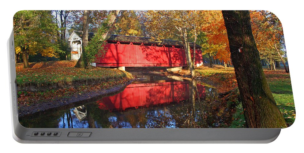 Covered Bridge Portable Battery Charger featuring the photograph Autumn Sunrise Bridge II by Margie Wildblood