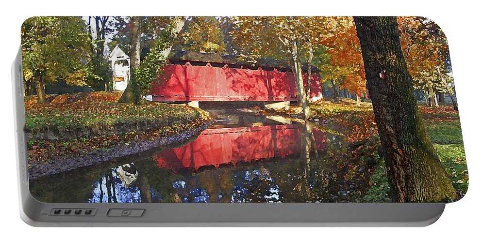 Covered Bridge Portable Battery Charger featuring the photograph Autumn Sunrise Bridge by Margie Wildblood
