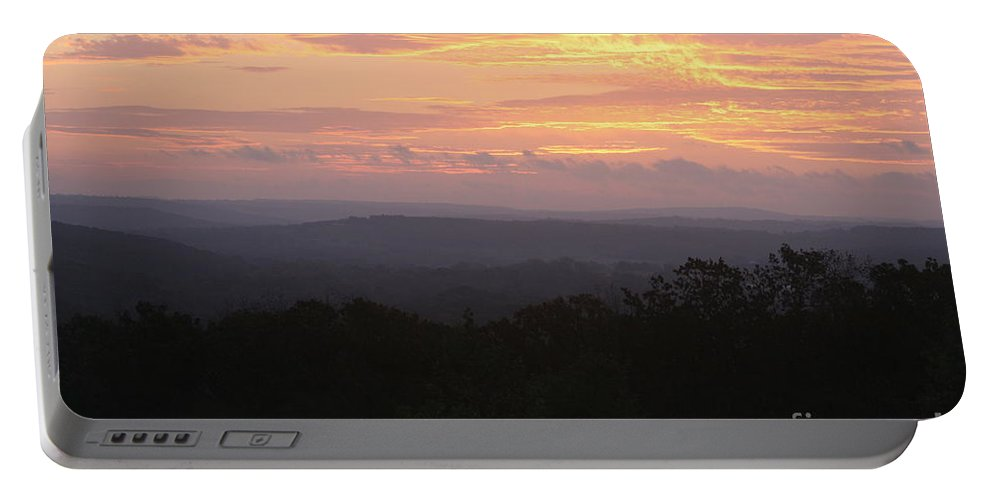 Sunrise Portable Battery Charger featuring the photograph Autumn Sunrise Over The Ozarks by Nadine Rippelmeyer