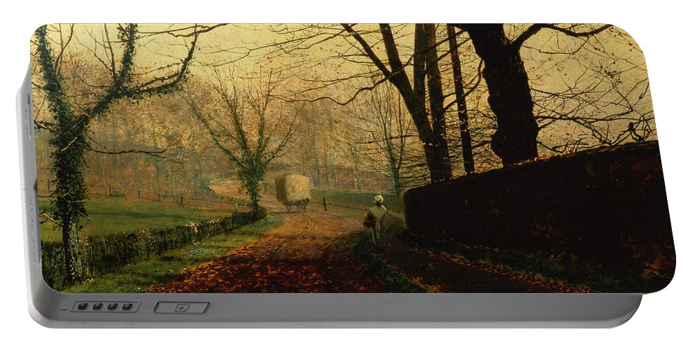 Wall; Leaves; Haycart; Landscape Portable Battery Charger featuring the painting Autumn Sunshine Stapleton Parknear Pontefract by John Atkinson Grimshaw