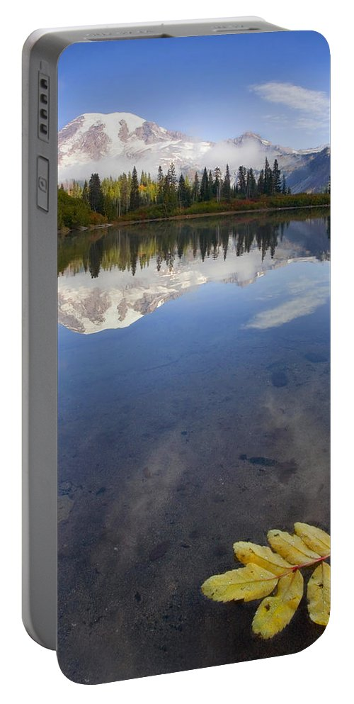 Rainier Portable Battery Charger featuring the photograph Autumn Suspended by Mike Dawson