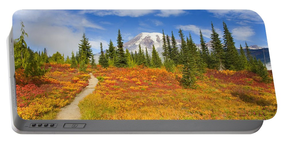 Mt. Rainier Portable Battery Charger featuring the photograph Autumn Trail by Mike Dawson