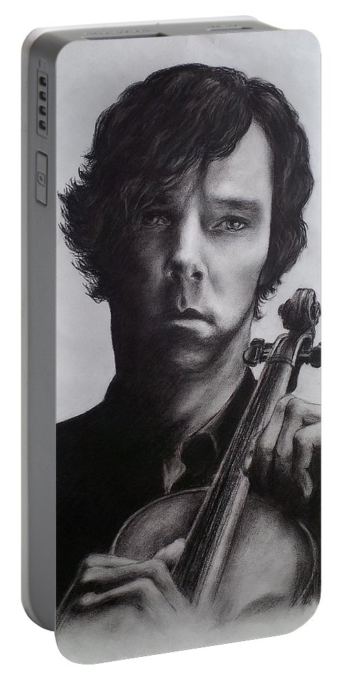 Benedict Cumberbatch Portable Battery Charger featuring the drawing Sherlock - Benedict Cumberbatch by Lena Day