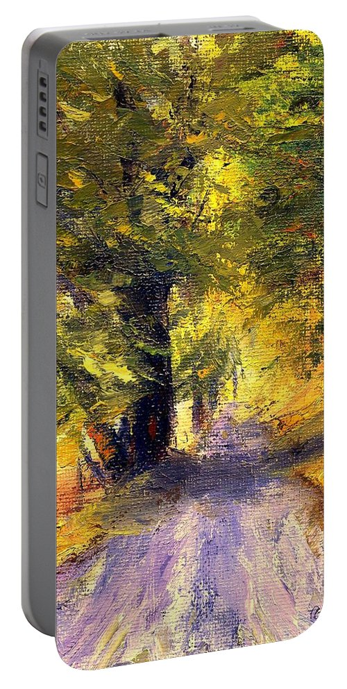 Autumn Portable Battery Charger featuring the painting Autumn Walk by Gail Kirtz