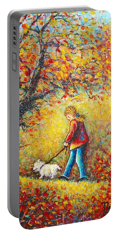 Landscape Portable Battery Charger featuring the painting Autumn Walk by Natalie Holland