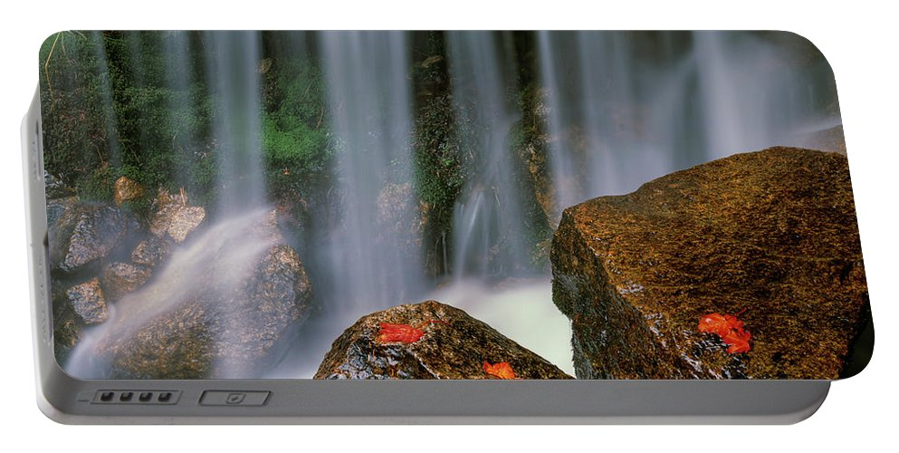 Autumn Portable Battery Charger featuring the photograph Autumn Waterfall by Leland D Howard