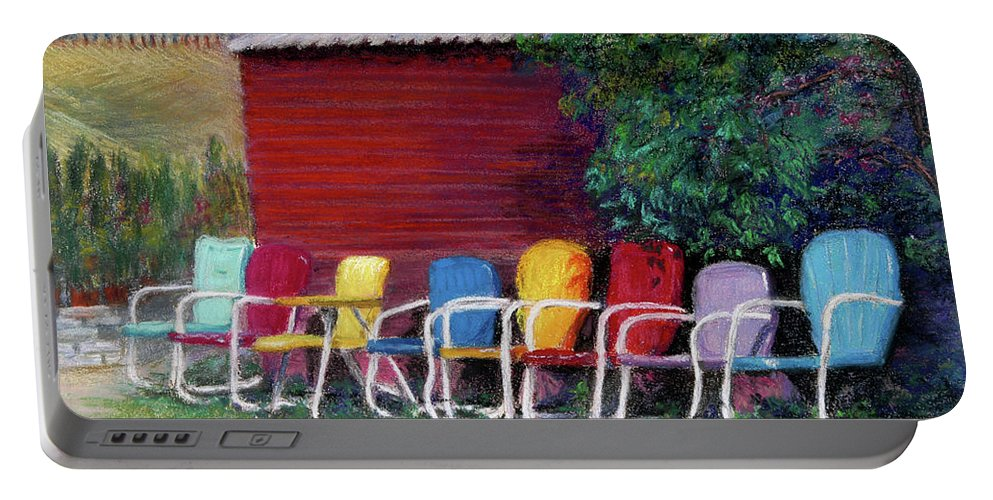 Available Seating Is An 11x14 Pastel On Paper. It Won A First Place Award. I Found This Farm In Hood River Portable Battery Charger featuring the painting Available Seating by Jan Hardenburger