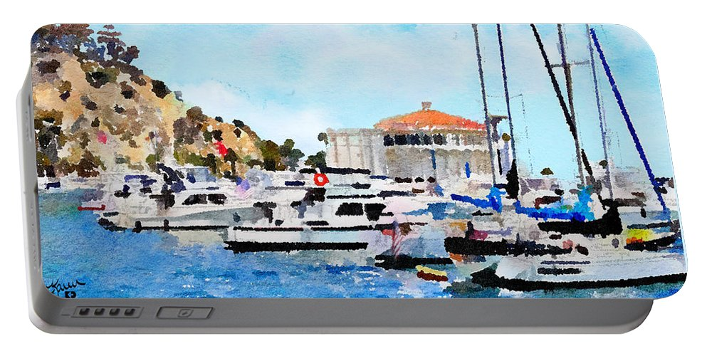 Catalina Portable Battery Charger featuring the digital art Avalon Casino Harbor, Catalina by Karen Dickel