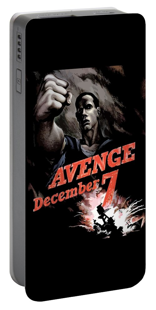 Propaganda Portable Battery Charger featuring the painting Avenge December 7th by War Is Hell Store