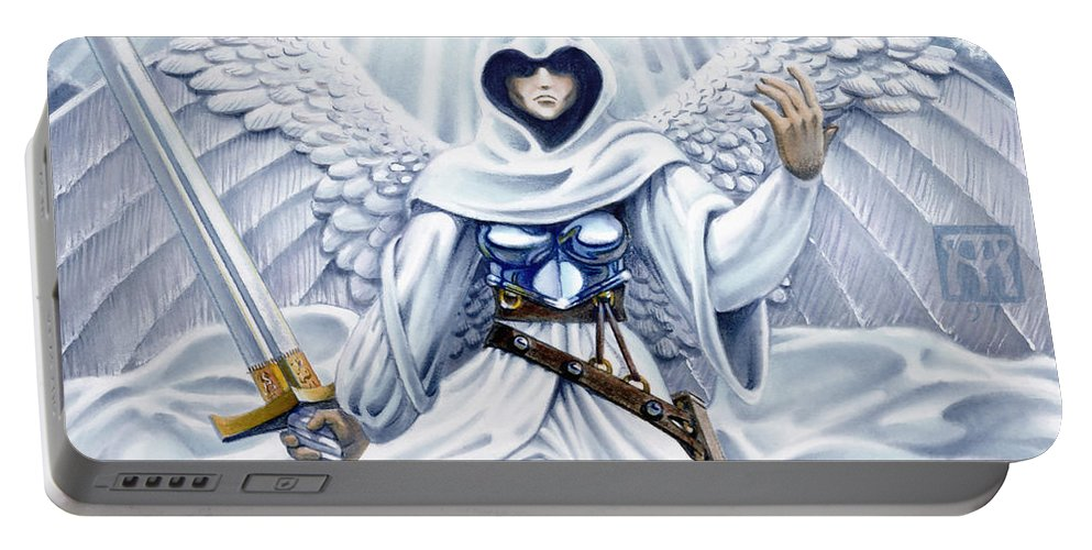 Angel Portable Battery Charger featuring the painting Avenging Angel by Melissa A Benson