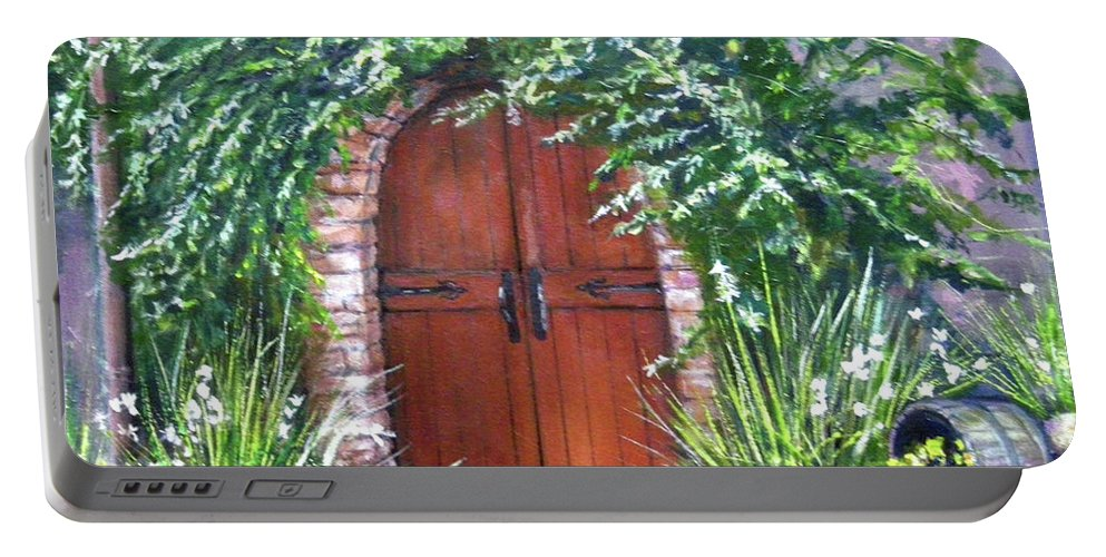 Door Curved Archway Portable Battery Charger featuring the painting Avignon by Olga Kaczmar