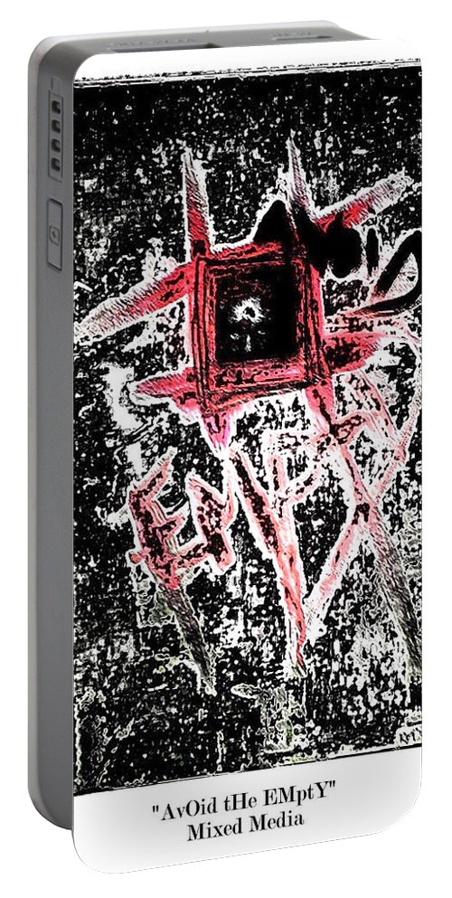 Abstract Portable Battery Charger featuring the mixed media Avoid The Empty by Kisha Taylor