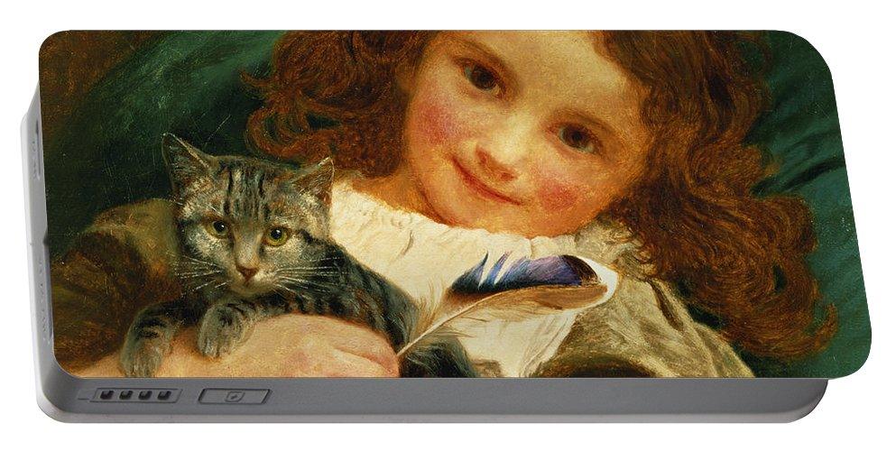 Child; Kitten; Feather; Portrait; Girl; Cat; Smile; Staring; Regard; Rousse; Redhead Portable Battery Charger featuring the painting Awake by Sophie Anderson
