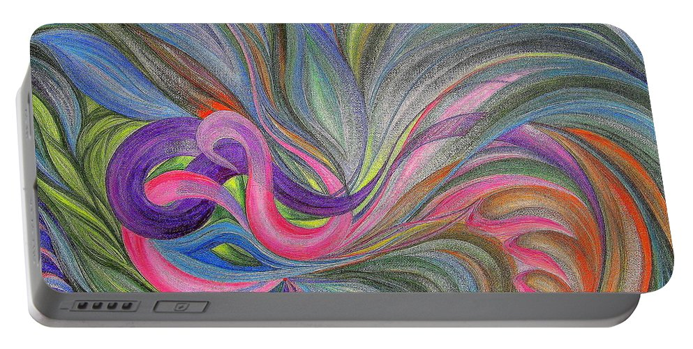 Abstract Portable Battery Charger featuring the painting Awakening 1.version 2. by Maya Bukhina
