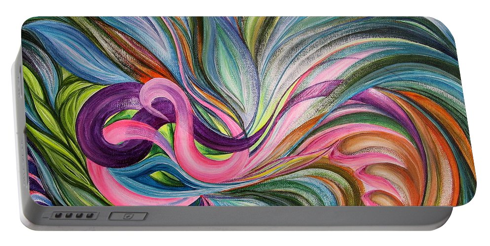 Abstract Portable Battery Charger featuring the painting Awakening 1 by Maya Bukhina