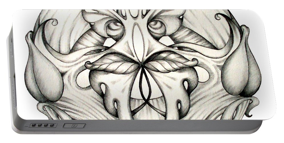 Mandala Portable Battery Charger featuring the drawing Awakening by Shadia Derbyshire
