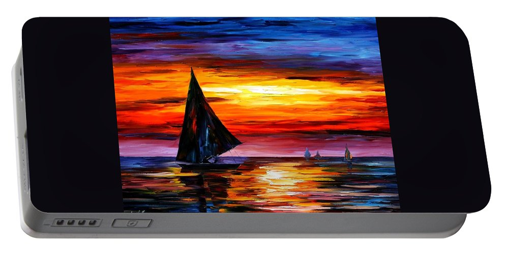 Afremov Portable Battery Charger featuring the painting Away From The Sunset by Leonid Afremov