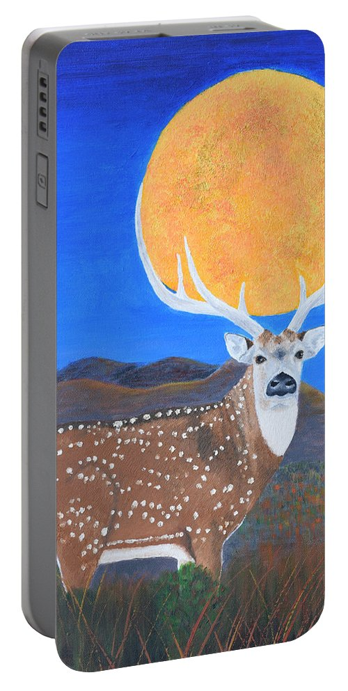 Axis Portable Battery Charger featuring the painting Axis Moon by Belinda Nagy