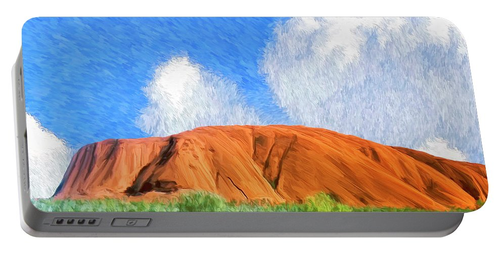 Ayers Rock Portable Battery Charger featuring the painting Ayers Rock by Dominic Piperata