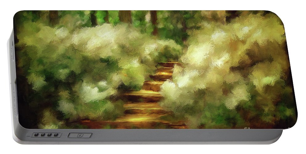 Spring Portable Battery Charger featuring the photograph Azalea Stairs by Lois Bryan