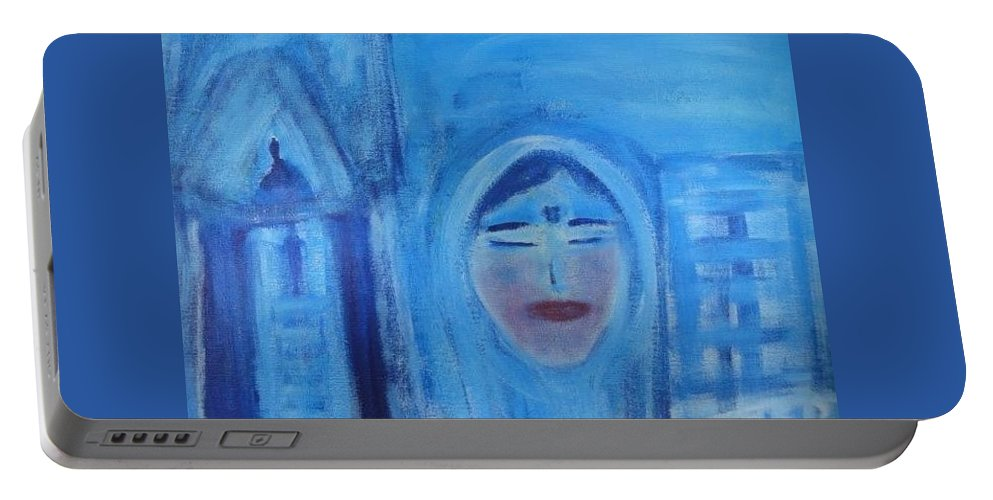 Art For Sacred Space Portable Battery Charger featuring the painting Azma by Marilyn Ingrid St-Pierre